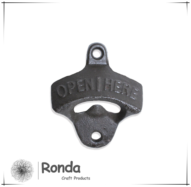 "Custom ""Open Here"" Cast Iron Wall Mount Bottle Opener Screws Included"