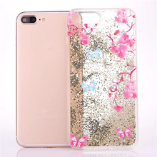 Chinese style flower butterfly glitter TPU covers for iphone 7 liquid quicksand beads case for iphone 7