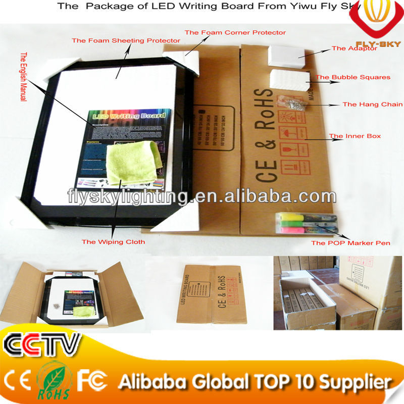 alibaba express hot sale new items on china market shops promotional led writing board with a stand