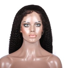 Premier natural Kinky Curl human hair lace front wig with baby hair Chinese virgin hair wig for black women