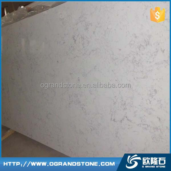 Artificial Statuary white quartz surface countertop slabs white quartz stone