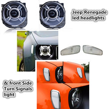 Projector Headlight For 2015-2017 Jeeep Renegade HID LED Headlight with DRL and Bi xenon & front turn side signals light