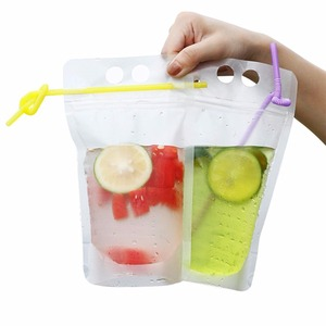 "Stand Up Reclosable Zipper Clear Drink Pouches Bags with Plastic Straw, 8mil Hand-held Drinking Bags 15"" Bottom Gusset"