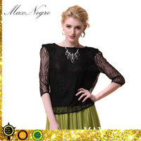 premium lace fabric top quality silk Half sleeve black women lace loose blouse tops