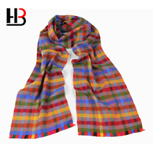 Cheap winter mens woolen plaid scarf in promotion