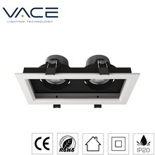 2*9W LED lighting adjustable twin Grille downlight modular design grille light