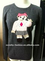 girls long sleeve pullover sweater with knitted bear on the front
