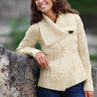 Irish Asymmetrical Merino Wool Cardigan Design For Women HSS1423