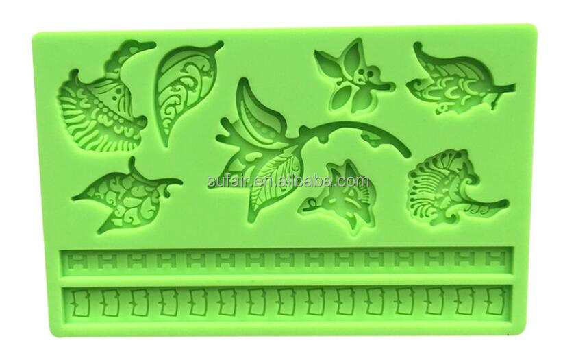DIY garden leaf shaped chocolate dessert mold oven silicone cake pan