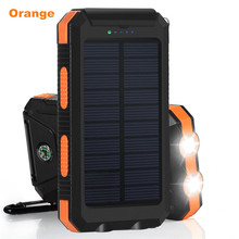 10000mah Waterproof Solar Battery Charger, Dual USB Solar Phone Power Charger with LED Light