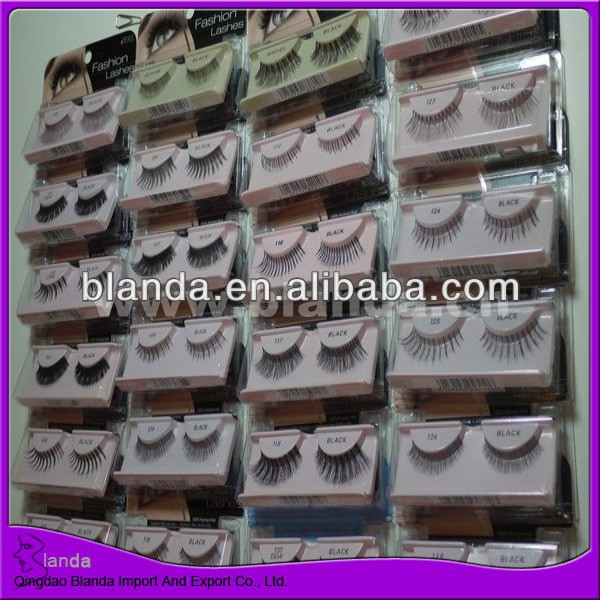 False Blanda korea fiber eyelash with white diamond