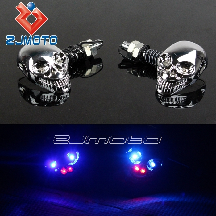Universal Chrome Skull LED Decoration Plastic Motorcycle Indicator Light Blue+Red License Plate Turn Signals Fit All Motorbike