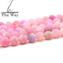 Pink Color frosted 10mm agate beads