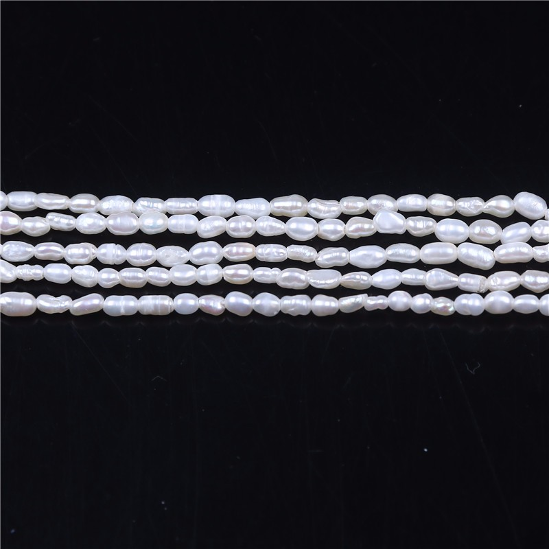 2-2.5mm white rice loose freshwater pearls strands