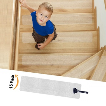 "Anti Slip Stair Treads Clear Tape,Non Slip Safe Strips for Kids, The Elderly and Pets PVC-Free, 4"" x  30"" Or Can Be customized"