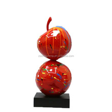 Custom Sculpture Outdoor Apple Resin With Red Color Art And Craft Big Size Abstract For Home Hotel Project Decoration