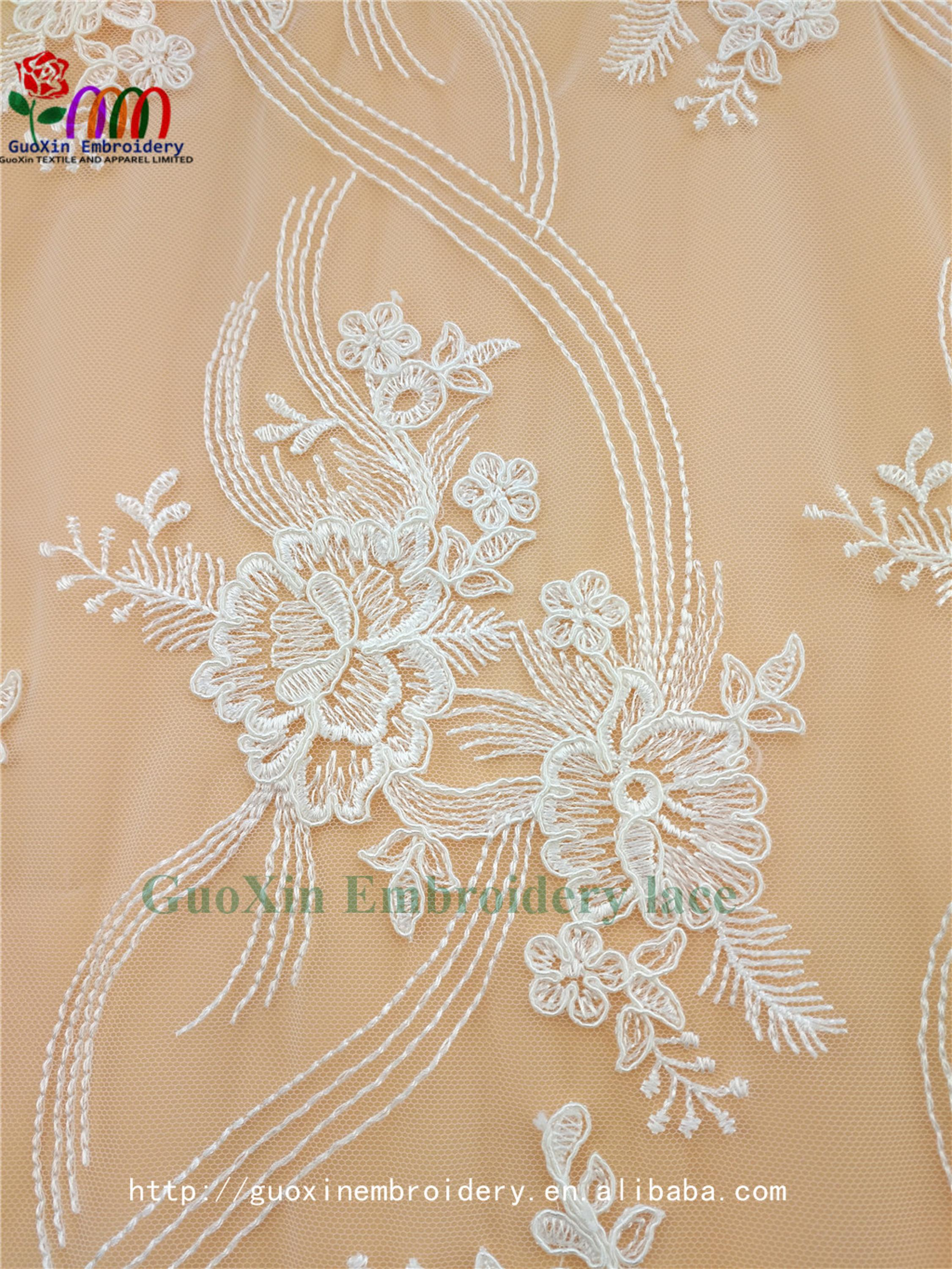 guangzhou guoxin clothing co.,ltd wholesale embroideried lace fabric for dress