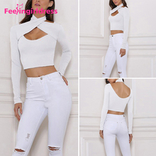 Latest Blouse Designs White Fashion Long Sleeve Crop Top Women For Wholesale