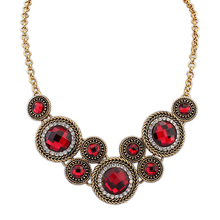 Imitate ruby diamond top model jewelry African style 2014 crystal fashion antique bronze pendant necklace PN2308
