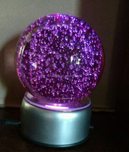MH-SJ095 color change led rotary stand crystal ball glass bubble sphere