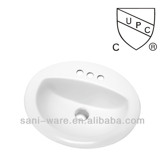 sn021 hot sale oval bathroom ceramic drop in upc sinks with 4 tap hole buy upc sinks drop in. Black Bedroom Furniture Sets. Home Design Ideas