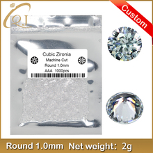 1.0mm 1.1mm 1.2mm Customized Aggravate Round Cut Shape Cubic Zirconia
