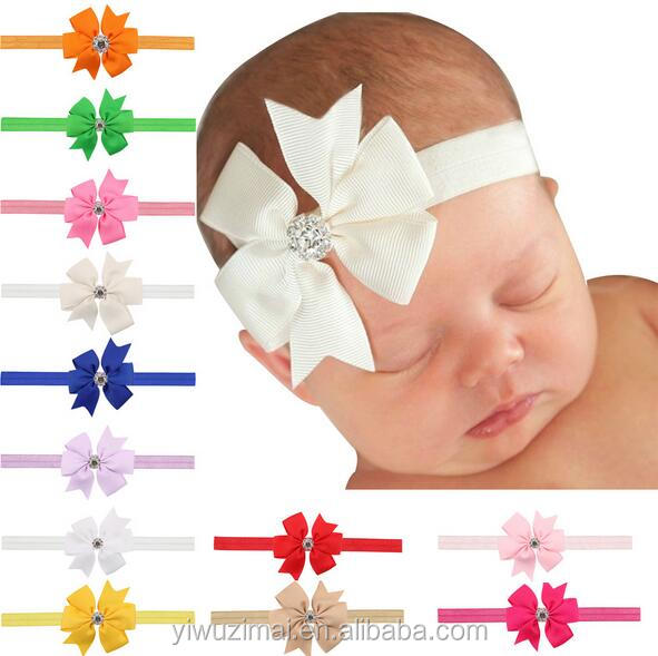 2017 New Children's Solid Color Ribbon Bow Rhinestone Elastic Headband Girls Stretch Headbands