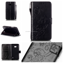 China supplier embossed pattern wallet leather case flip cover for nokia n640 pu leather stand pouch case with card slots