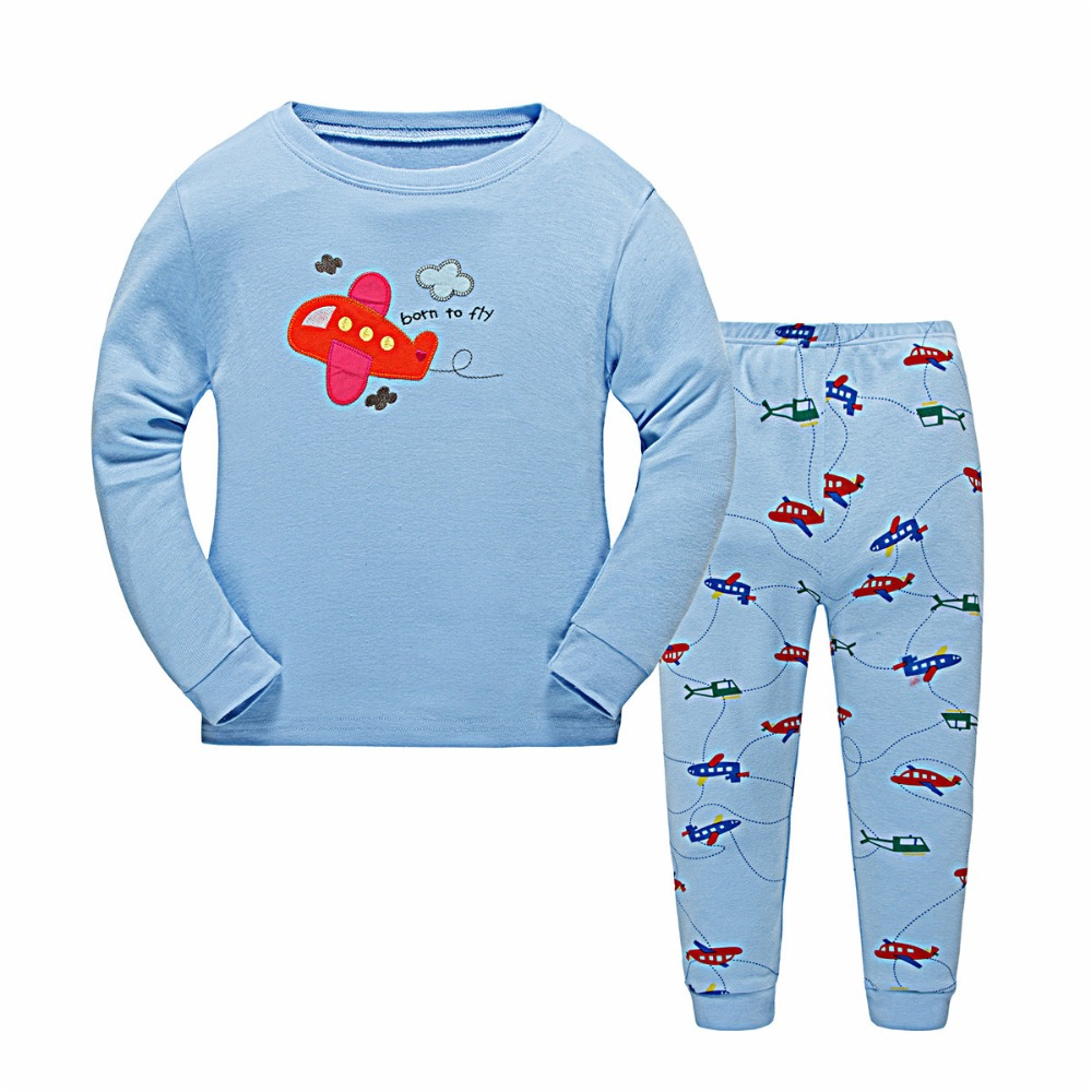 hot selling custom blue top design children Kids Cute Sleepwear Cartoon Pajamas Fashion