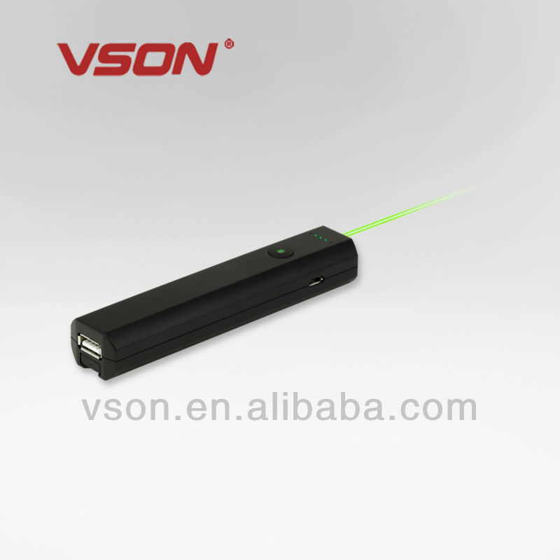 2.4G green laser pointer with cell phone backup battery 2200mAh