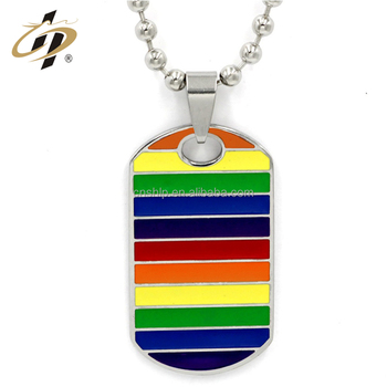 Fashion men custom rainbow stainless steel necklaces