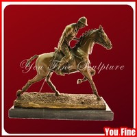 Antique Bronze Horse With Soldier Statue