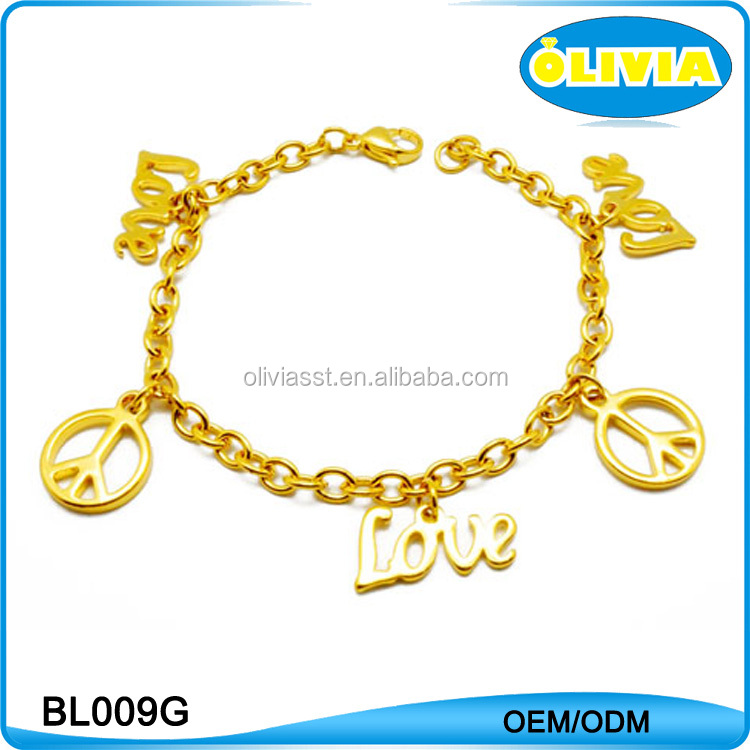 Olivia Fashion Gold Bracelet Letter Love