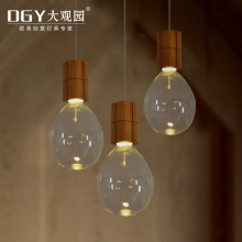 CE ROHS wood socket Incandescent light bulbs shape pendant lamp cheap transparent glass lampshade dining room pendant lights