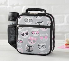 Water-resistant Classic Lovable Patterns Black & White Cats Lunch Bags for kids