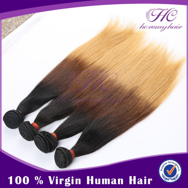 New selling items High quality Brazilian weave malaysian virgin hair ombre 300g bundles 50% off