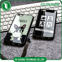 2016 trending fashion case acrylic mirror back tpu bumper frame case of cartoon pitbull design back cover for iphone 6