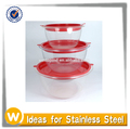 3 PCS Non-skind Transparent Plastic Mixing Bowl with Lid