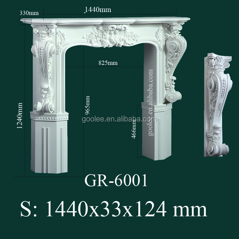 modern European-style Decorative Hand Carved PU Fireplace