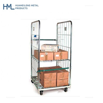 2 sides warehouse logistic folding supermarket storage steel wire mesh rolls pallet containers cargo transport trolleys