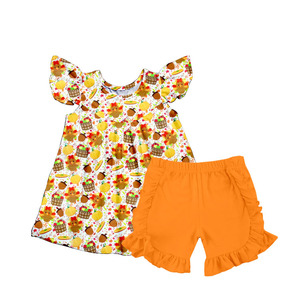 Custom Children Boutique Clothes sets Girls Halloween Party Two Pieces Outfits Kids Ruffle Clothes Set
