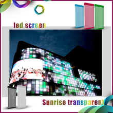Energy saving full color HD LED video display screen outdoor transparent glass led display/ large led media facade