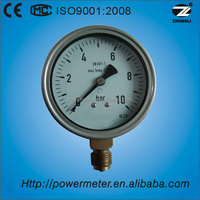 wika type 100mm bottom type silicone or glycerine oil filled stainless steel case pressure gauge / CE certificate