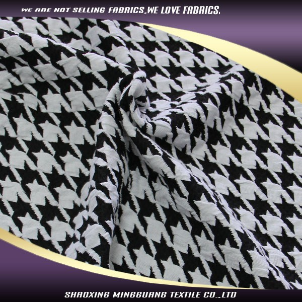 High quality cotton polyester spandex fancy houndstooth double sided knit fabric