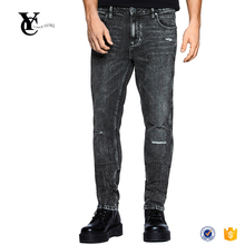 Custom brand name sculpted black pearl taper jeans men trousers with garment wash