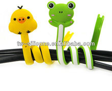 animal shape silicone headphone cord wrap,earphone cable winder