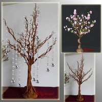 WEFOUND natural color wish tree with flowers Crystal wedding table tree