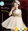 2017 lastest long frock design for girls with golden petals elegant wedding dress top quality with embroidery flowers for child