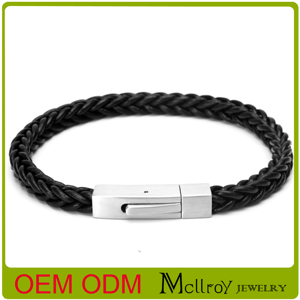 Genuine leather Jewelry fashion high quality cowhide rope handmade woven bracelet