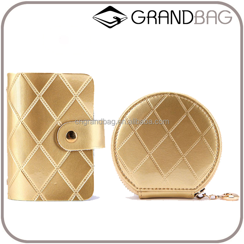 fashion champagne color stitching leather card holder set custom, genuine leather coin purse cardholder series wholesale